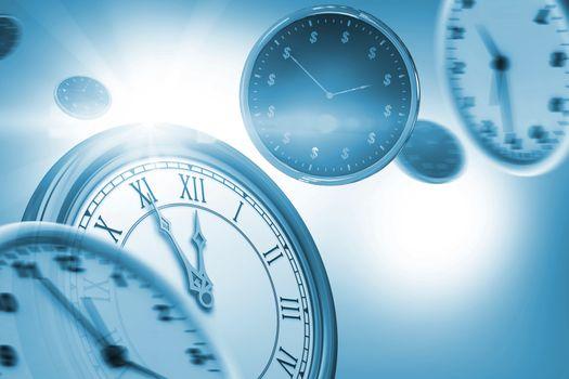 Digitally generated image of wall clocks