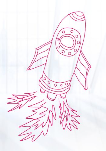 hand-drawn rocket with bright background