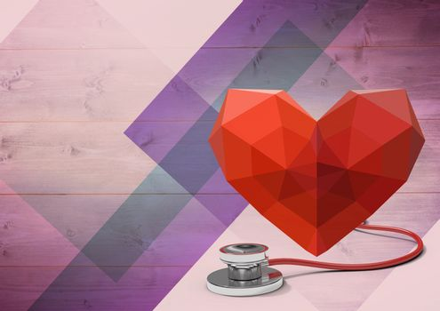 Polygon Heart with stethoscope