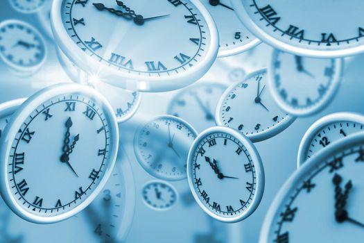 Digitally generated image of clocks