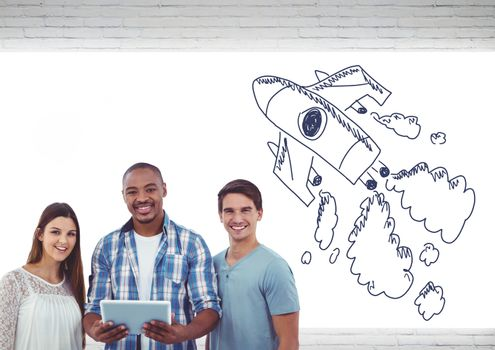 Creative people with hand-drawn rocket