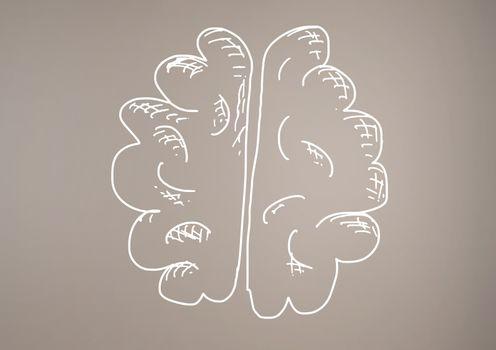 hand-drawn brain with brown background