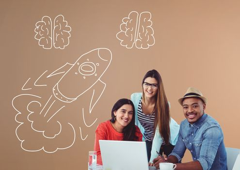 Creative people with hand-drawn rocket and brains