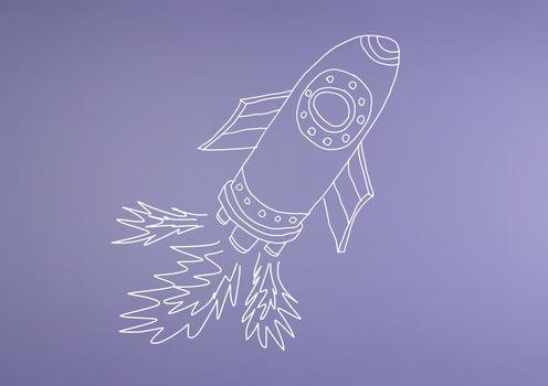 hand-drawn rocket on purple wall