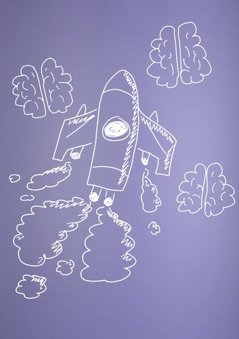 hand-drawn rocket and brains on purple background