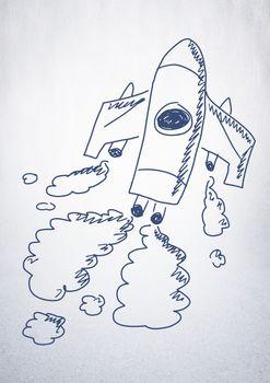 hand-drawn rocket on white wall