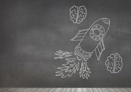 hand-drawn rocket and brains on blackboard
