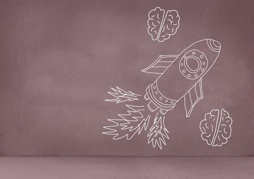 hand-drawn rocket and brains on red wall