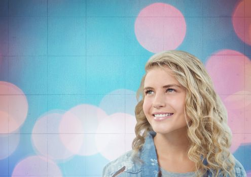 Woman smiling with pink dots