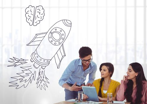 Creative people with hand-drawn rocket and brain