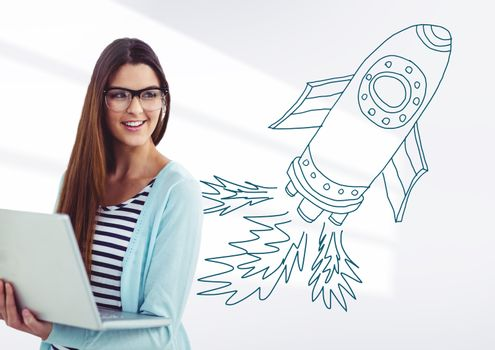 Creative woman with hand-drawn rocket