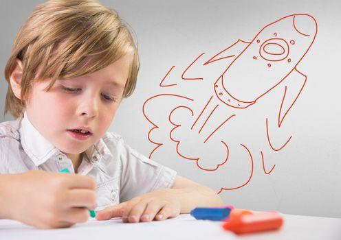 Creative child with hand-drawn rocket