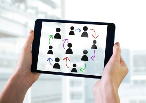 Digital composite of Hand-drawn people profile icons with hands holding tablet