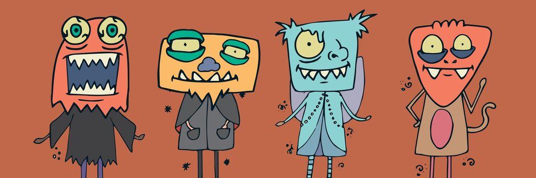 Monster illustrations in Halloween costumes