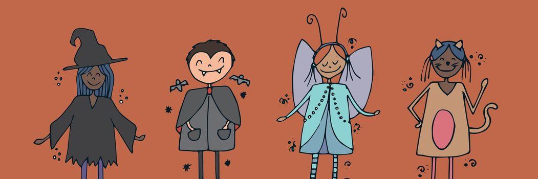 Children illustrations in Halloween costumes