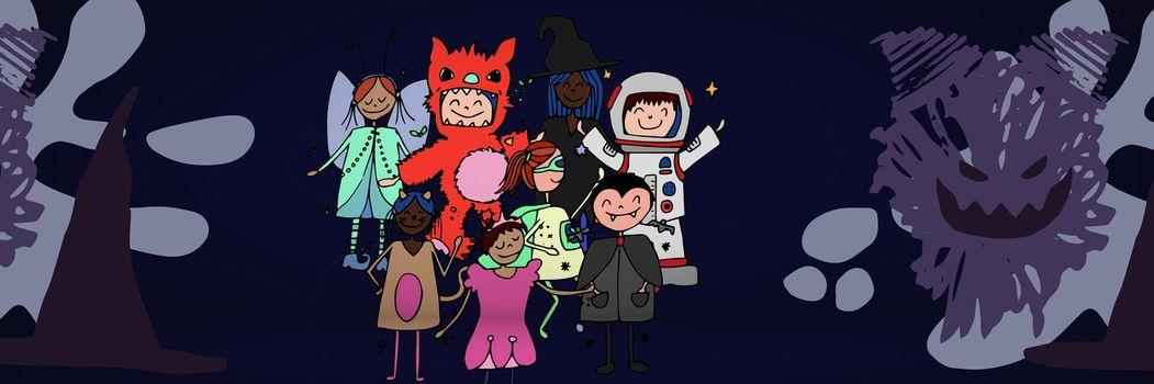 Children's Halloween party illustrations