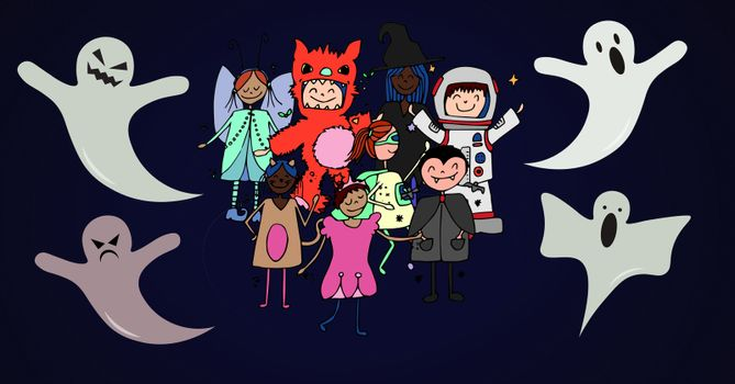 Childrens Halloween party with ghosts illustrations