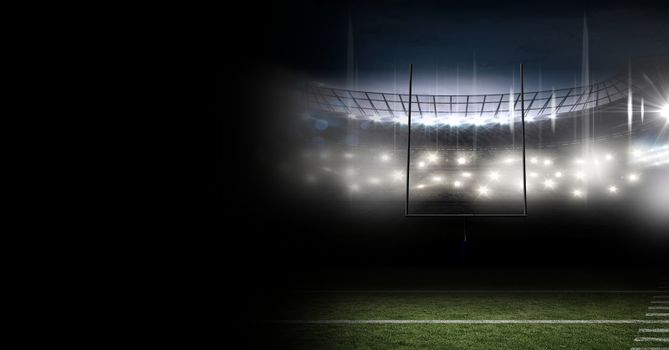 Sports stadium lights transition effect with darkness
