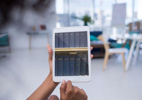 Bookshelf on tablet screen