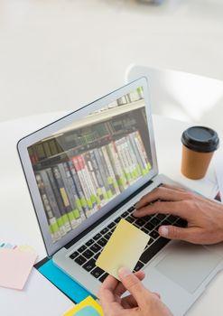 Bookshelf on laptop screen