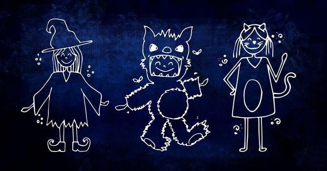 Children in costumes for halloween illustrations