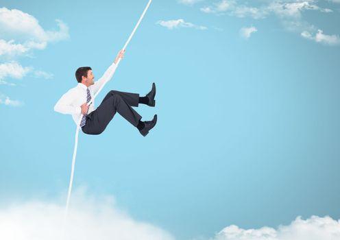 Man swinging on rope