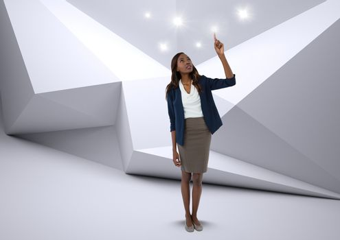 Businesswoman touching sparkle lights in minimal room