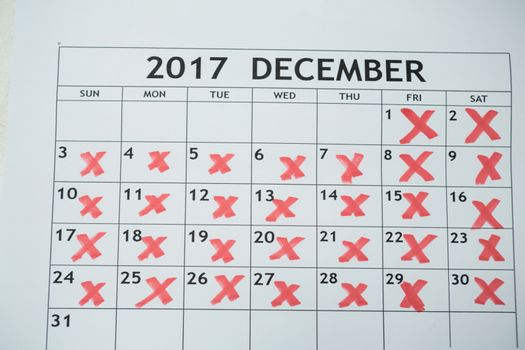 Calendar showing 31st december and other days marked
