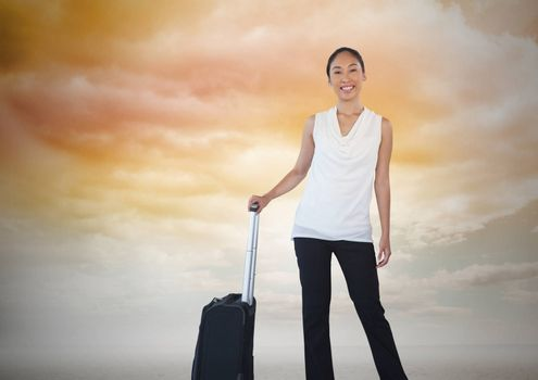 Digital composite of Businesswoman with travel bag and clouds