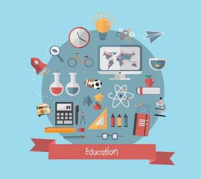 Education banner with school icons on blue background
