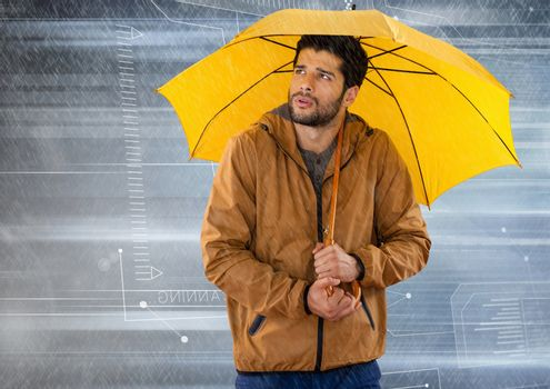 Man with umbrella and tech interface in motion