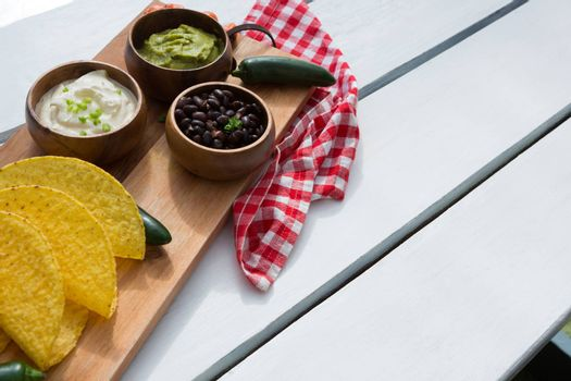 Various mexican food ingredients on wooden table