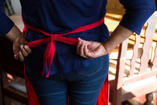 Waitress wearing her apron