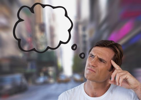 man looking up at thought cloud