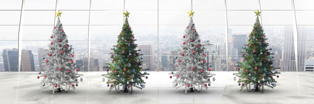 Christmas trees in long room with windows
