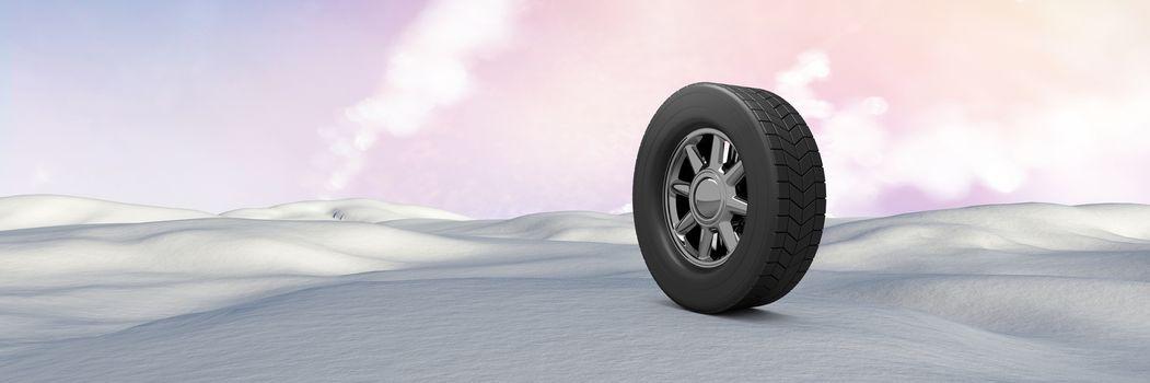 Tyre in Winter snow landscape