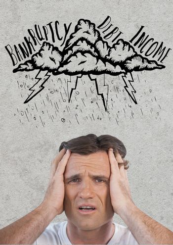 frustrated man in storm