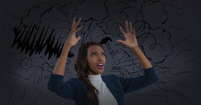 frustrated woman in storm