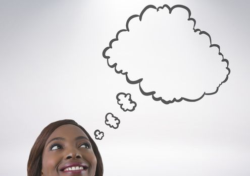 woman looking up at thought cloud