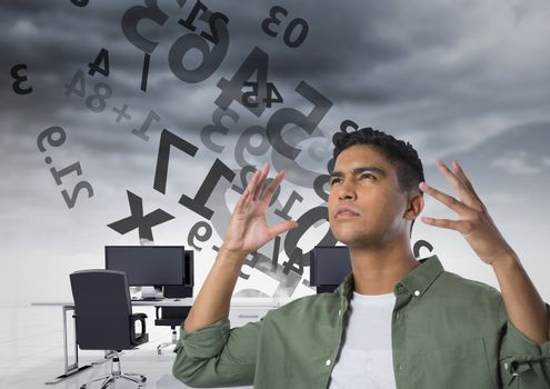 frustrated man doing calculations