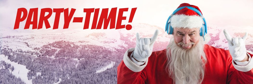 Party time text and Santa with DJ headphones in Winter landscape