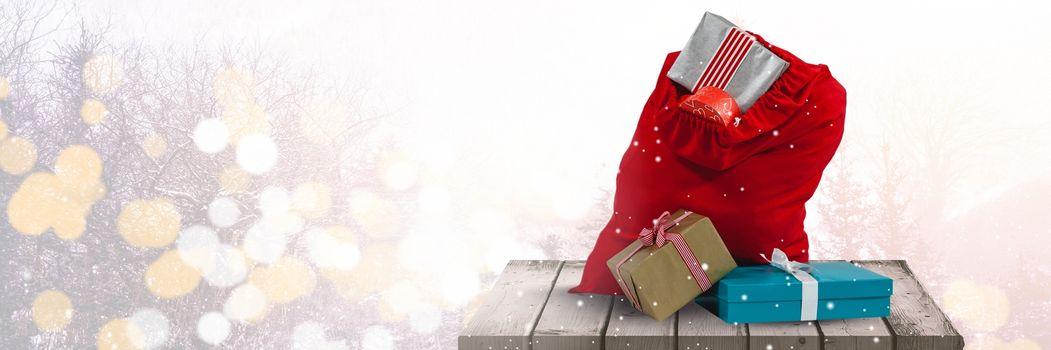 Christmas gifts on platform