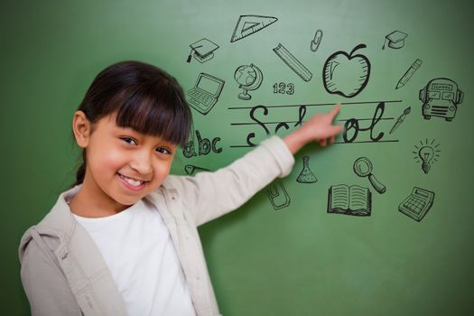 Composite image of education doodles with cute pupil pointing