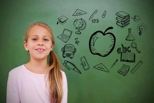 Composite image of education doodles with cute pupil