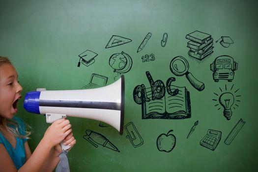 Education doodles with cute pupil shouting through megaphone