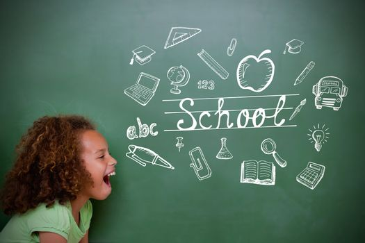 Composite image of education doodles with cute pupil shouting