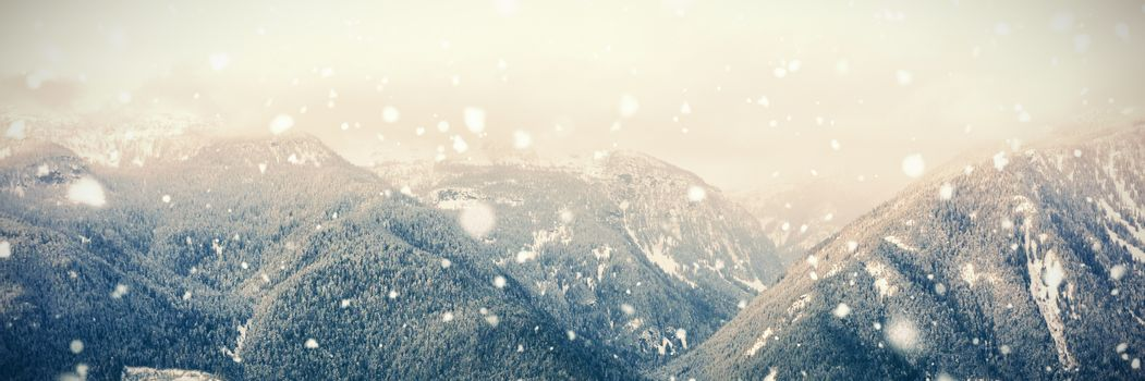 Beautiful mountain range in ski resort