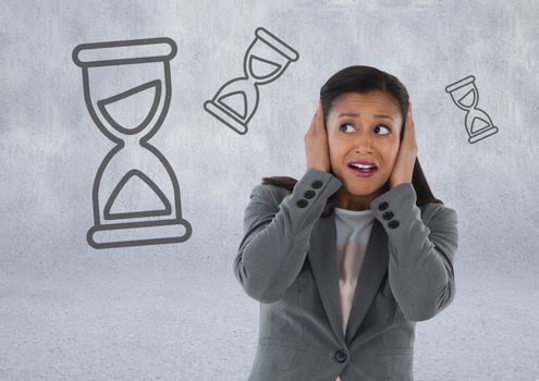 frustrated woman with hourglasses