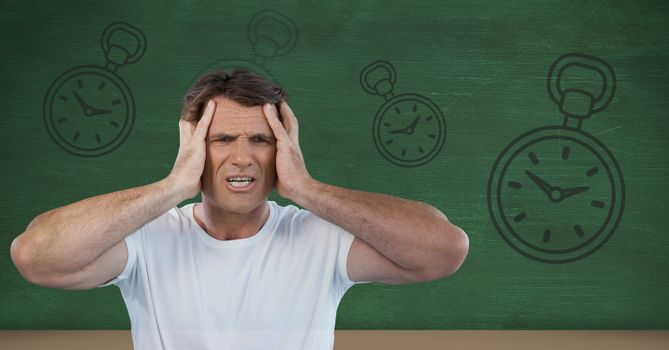 frustrated man with clocks