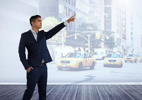 Businessman calling a taxi